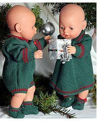 dollknittingpattern 0007d tomine and thomas - dress, pants, shoes, suit and socks