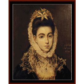 lady with flower in hair - el greco  cross stitch pattern by cross stitch collectibles