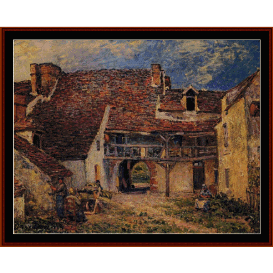 courtyard at st. mammes - sisley  cross stitch pattern by cross stitch collectibles