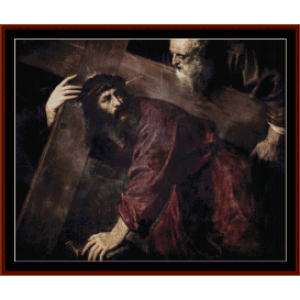 christ carrying the cross - titian  cross stitch pattern by cross stitch collectibles