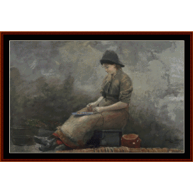 fishergirl baiting lines - winslow homer  cross stitch pattern by cross stitch collectibles