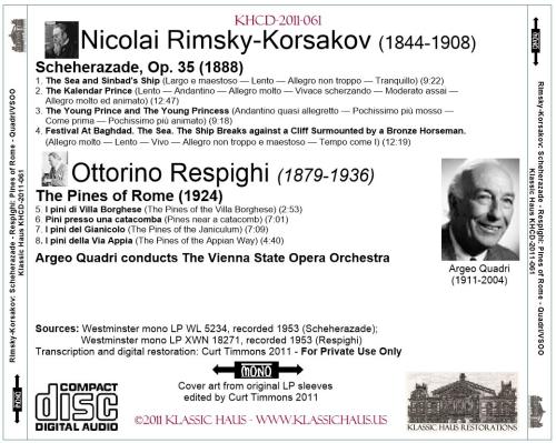 First Additional product image for - Rimsky-Korsakov: Scheherazade, Op. 35; Respighi: Pines of Rome - VSSO/Argeo Quadri