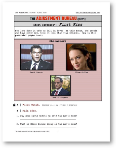 adjustment bureau, first kiss, short-sequence english (esl) lesson