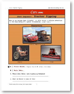 cars, tractor tipping, short-sequence english (esl) lesson