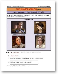 the kings speech, the royal visit, short-sequence english (esl) lesson