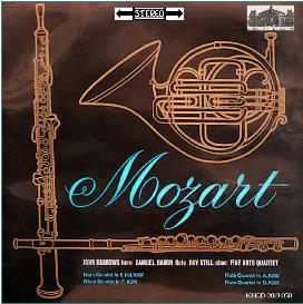 mozart: horn quintet in e-flat, k. 407; oboe quartet in f, k. 370; flute quartet in d, k. 285; flute quartet in a, k. 298 - john barrows, french horn - ray still, oboe; samuel baron, flute; the fine arts quartet