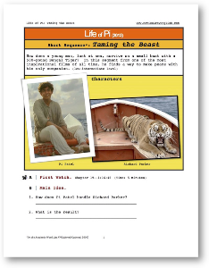life of pi, training the beast, short-sequence english (esl) lesson