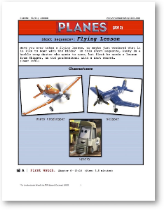 planes, flight lesson, short-sequence english (esl) lesson