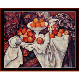 apples and oranges - cezanne  cross stitch pattern by cross stitch collectibles