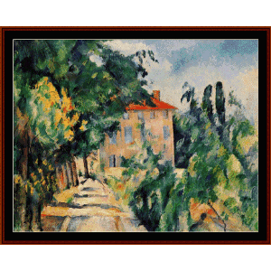 house with red roof - cezanne  cross stitch pattern by cross stitch collectibles