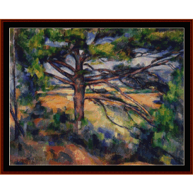 large pine and red earth - cezanne  cross stitch pattern by cross stitch collectibles