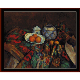 still life with oranges - cezanne  cross stitch pattern by cross stitch collectibles