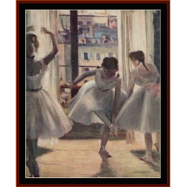 dancers in exercise hall - degas  cross stitch pattern by cross stitch collectibles