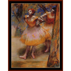 orange ballet dresses - degas  cross stitch pattern by cross stitch collectibles
