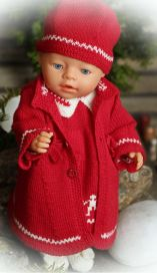 dollknittingpatterns - 0104d mari - dress, coat, pants, shoes, hat and hairband