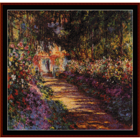 garden pathway at giverny - monet  cross stitch pattern by cross stitch collectibles