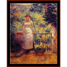 aline at the gate - renoir cross stitch pattern by cross stitch collectibles