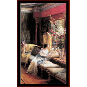vain courtship - alma tadema cross stitch pattern by cross stitch collectibles