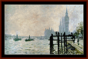 thames at westminster - monet cross stitch pattern by cross stitch collectibles