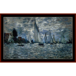 Boats at Regatta - Monet cross stitch pattern by Cross Stitch Collectibles | Crafting | Cross-Stitch | Wall Hangings