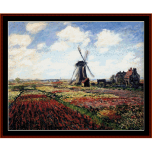 tulip fields with windmill - monet cross stitch pattern by cross stitch collectibles