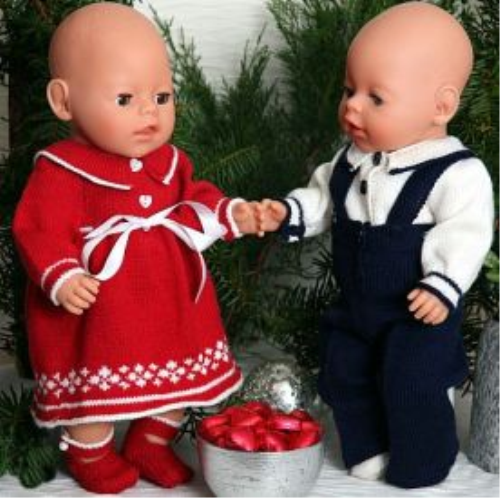 First Additional product image for - DollKnittingPattern 0008D- SELINE & SNORRE - dress, pants and shoes - long-(English)