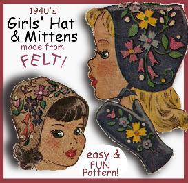 Make Girl's FELT BONNET & MITTENS!  Adorable VINTAGE Pattern! | eBooks | Arts and Crafts