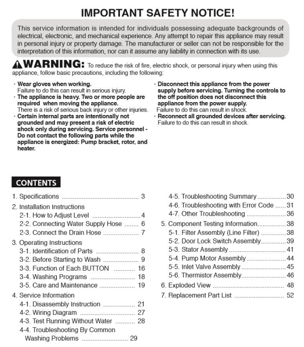 First Additional product image for - LG WT4870CW Washing Machine Service Manual Download