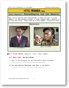 hotel rwanda, rusesabagina and the general, short-sequence english (esl) lesson