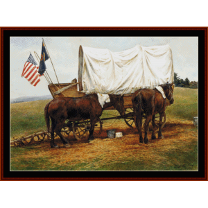 wagon train - americana cross stitch pattern by cross stitch collectibles