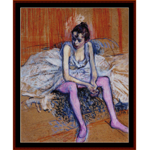 seated dancer in pink tights - lautrec cross stitch pattern by cross stitch collectibles