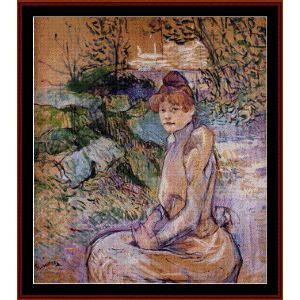 woman in garden - lautrec cross stitch pattern by cross stitch collectibles