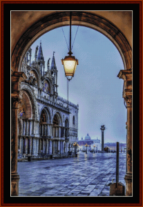 st. mark's square, venice cross stitch pattern by cross stitch collectibles