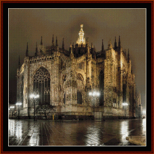 cathedral at milan - travel cross stitch pattern by cross stitch collectibles