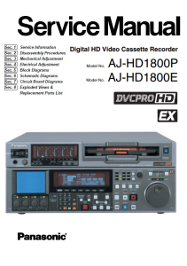Panasonic AJ-HD1800 DVCPRO HD Studio Video Recorder Service Manual Download | eBooks | Technical