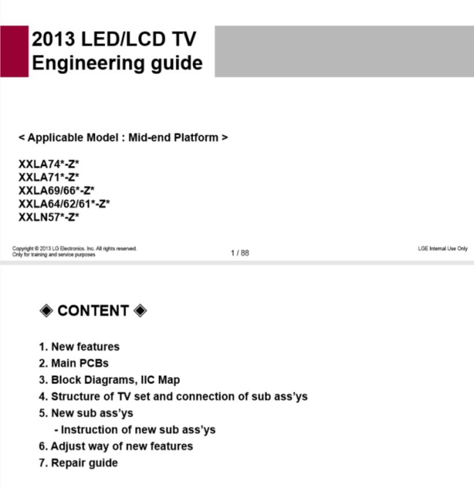 Second Additional product image for - LG 47LN570V TV Service Manual Download