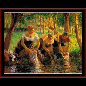 Washerwomen - Pissarro cross stitch pattern by Cross Stitch Collectibles | Crafting | Cross-Stitch | Wall Hangings