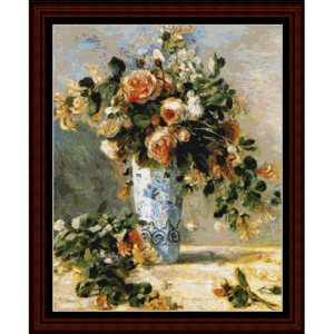 Roses and Jasmine - Postersize - Renoir cross stitch pattern by Cross Stitch Collectibles | Crafting | Cross-Stitch | Wall Hangings