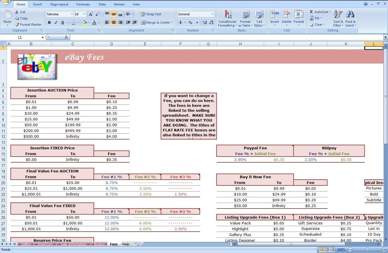 First Additional product image for - eBay Quick Calculator Excel Spreadsheet - Profit Analysis
