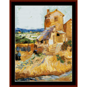the old mill - van gogh cross stitch pattern by cross stitch collectibles