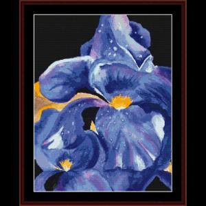 dark iris - floral cross stitch pattern by cross stitch collectibles