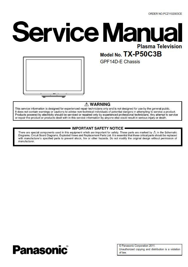 panasonic tx p50c3b tv original service manual and repair guide rh store payloadz com panasonic plasma tv repair manual panasonic plasma tv service manual