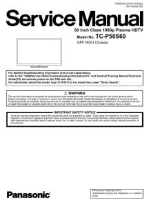 panasonic tc p50s60  50ps64 tv original service manual and repair guide