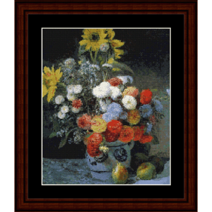 mixed flowers in a vase - renoir cross stitch pattern by cross stitch collectibles
