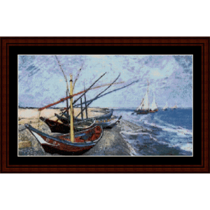 fishing boats on the beach - van gogh cross stitch pattern by cross stitch collectibles