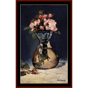 moss roses in a vase - manet cross stitch pattern by cross stitch collectibles