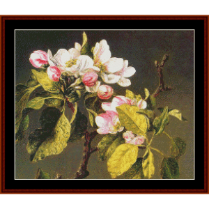apple blossoms - heade cross stitch pattern by cross stitch collectibles