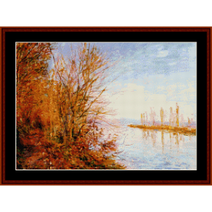 woods at roches-courtaut - sisley cross stitch pattern by cross stitch collectibles