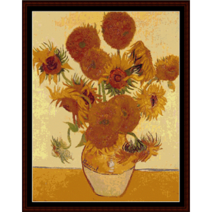 sunflowers, postersize - van gogh cross stitch pattern by cross stitch collectibles