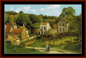 Hermitage of Pontoise - Pissarro cross stitch pattern by Cross Stitch Collectibles | Crafting | Cross-Stitch | Wall Hangings